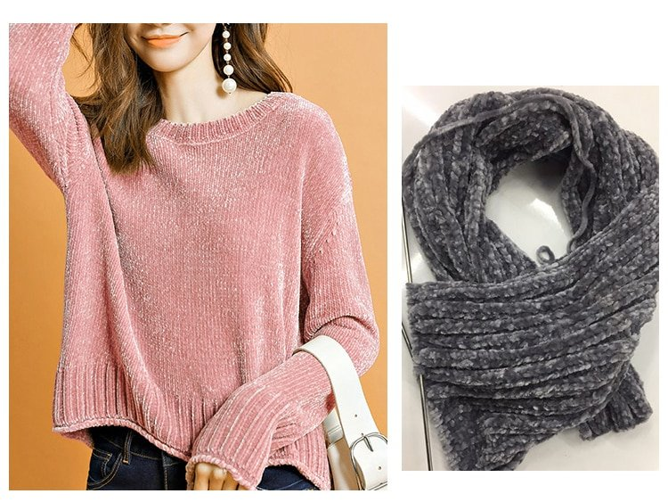 Chenille-yarn-Scarf-Sweater